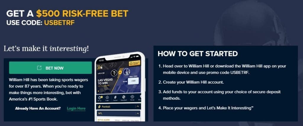 William Hill promo code 2021: Get your $500 sportsbook deal